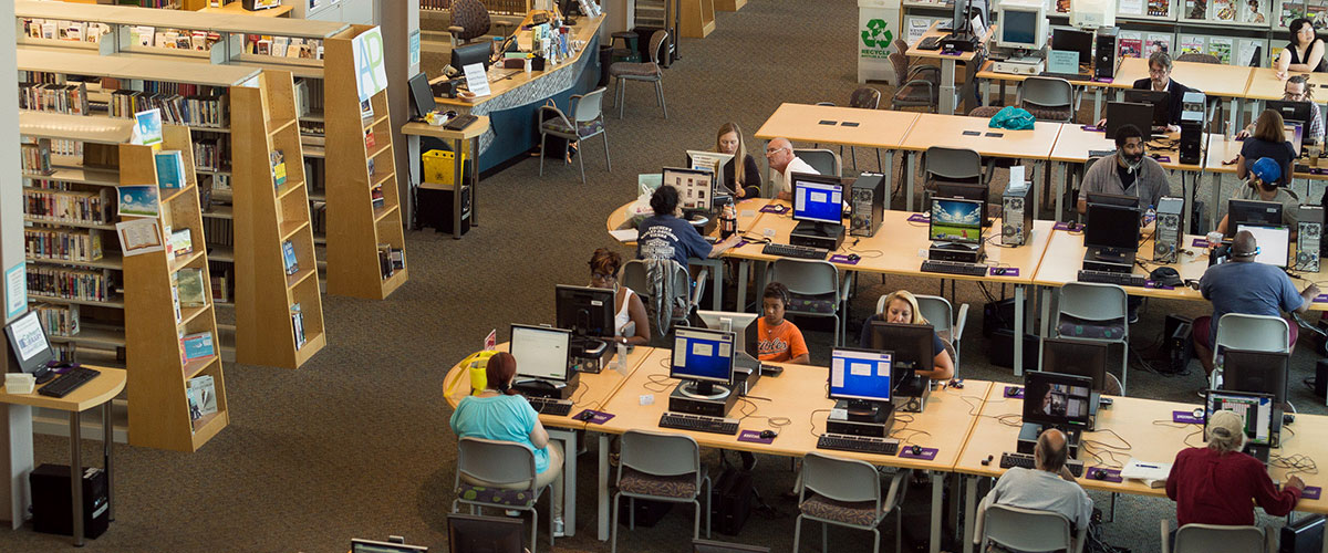 People using Calvert Library computers