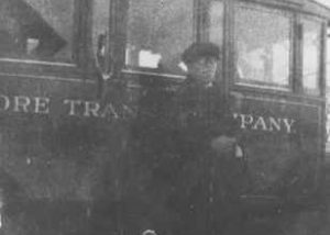 "Bus and driver, ""Baltimore Transit Company,"" served Prince Frederick - Baltimore."