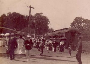 Chesapeake Beach Railroad; people arriving for the day
