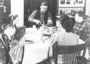 1940-1949 Dinner at farm table