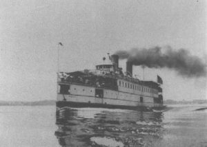 "steamboat ""Penn"" proudly cruises Chesapeake Bay in 1917."