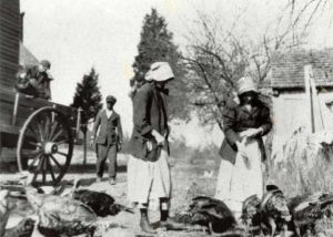 Feeding the Turkeys. (left to right: John W. Williams, Dan Dockett Williams, two women, names unknown.)