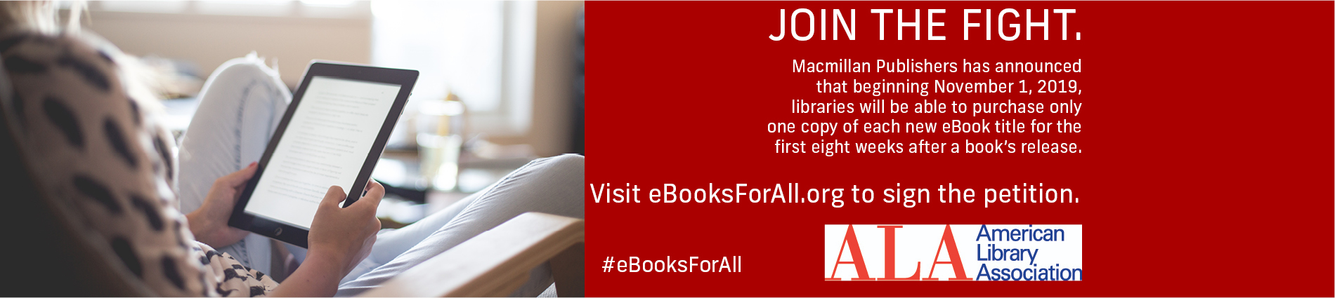 Visit eBooksForAll.org to sign the petition to keep eBooks accessible to everyone.