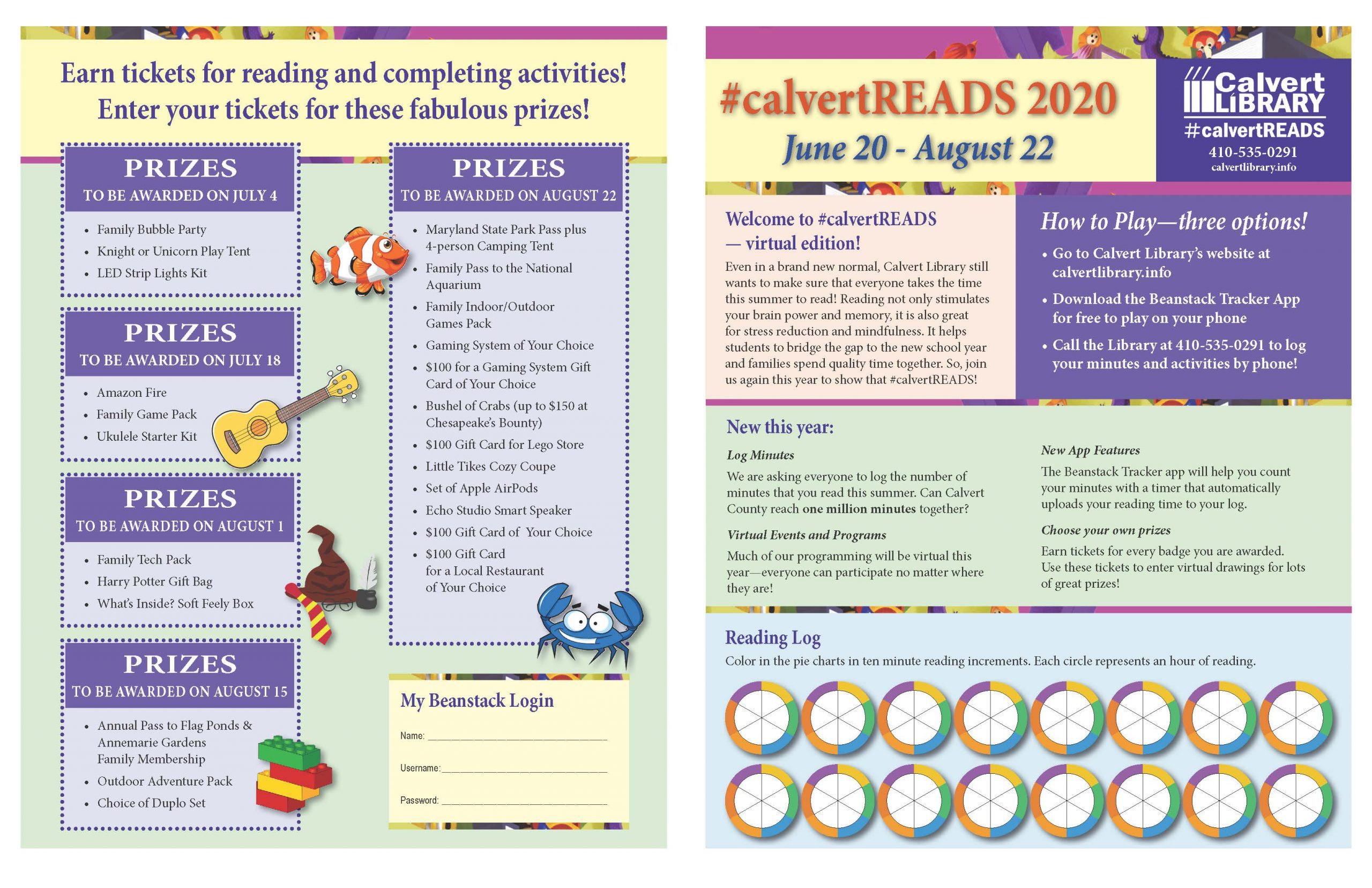 calvertREADS Summer 2020 printable game board