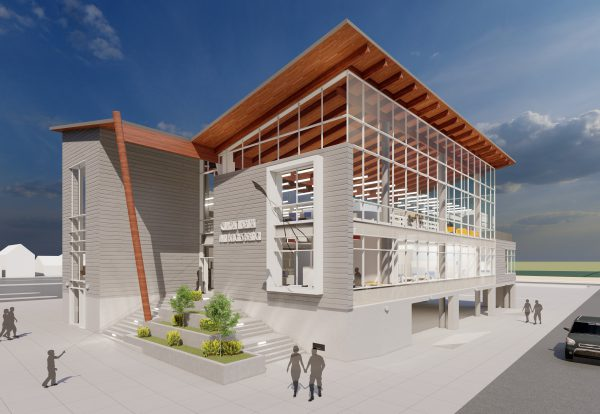 exterior design view of new Twin Beaches Branch building